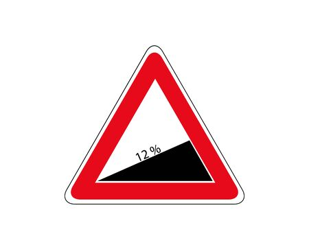 Traffic-Road Sign of Steep Road on White, warning sign about increase of 12 Percent.  イラスト・ベクター素材