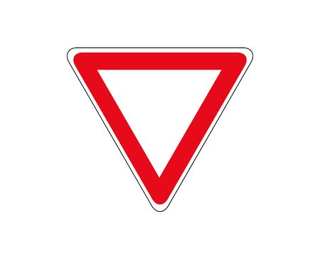 Road sign. Give right of way. Vector illustration. Vetores