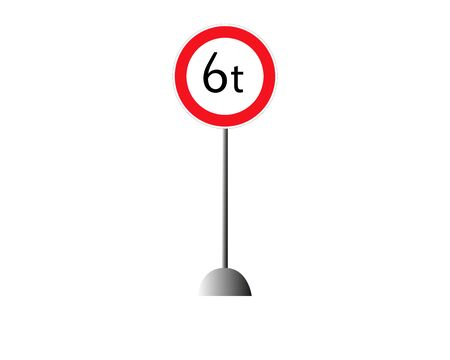 Road sign limitation 6 tons icon. Element of traffic signs icon for mobile concept and web apps. Thin line road sign limitation 6.5 tons icon can be used for web and mobile on white background