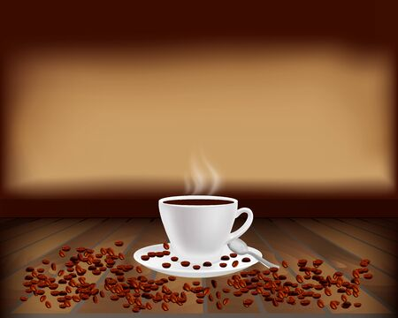 Cup of steaming coffee on wooden background. Coffee beans situated on a dark brown background. Coffee-themed texture for further use in projects. Vector illustration.