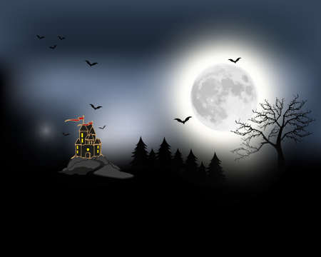 Halloween spooky black vector scenery background. Night image of full moon and bats and castle in the distance. Black and white scary Halloween illustration.