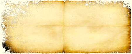 Old brown paper parchment background design with distressed vintage stains and ink spatter and white faded shabby center, elegant antique beige color 스톡 콘텐츠