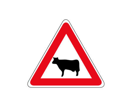 Cattle crossing warning road sign. Vector illustration of cow caution traffic sign. Farm hazzard attention red triangle mark.