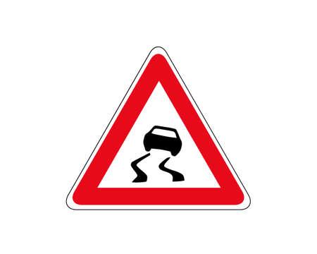 Slippery road traffic warning sign vector. Red triangle board. Road traffic symbols. Vetores