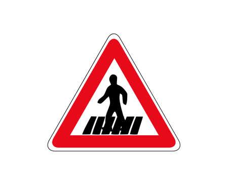 Traffic sign zebra crossing. Pedestrian crossing - crosswalk flat icon symbol. Isolated on white, vector