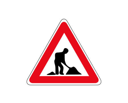 Road works sign, under construction. Red glossy road sign with working man isolated on white background. 向量圖像