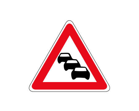 Road sign. Caution traffic column. Traffic jam, vector icon. Car column in red triangular frame. Group of black silhouette of cars