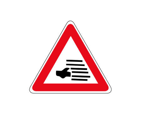 Caution for fog likely traffic sign. Vector illustration.