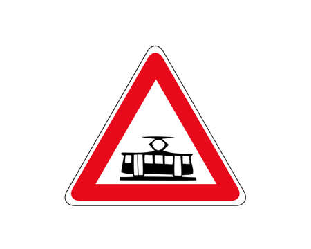 Illustration of Triangle Warning Sign of Crossing with a Tram Line 矢量图像