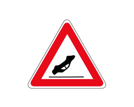 Traffic accident road sign. Other danger traffic sign. Illustration of red triangle warning road sign with mark inside. Caution icon vector design template isolated on white background.