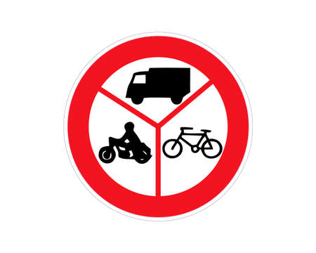 Road sign no entry of marked vehicles. Vector illustration. Vectores