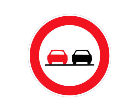 Road sign no overtaking. Vector illustration.
