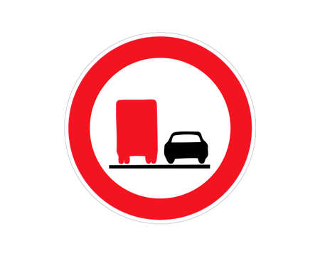 not overtaken truck car road sign isolated vector design