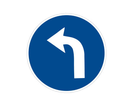 Curved Left Road Traffic Road Sign, Vector Illustration, Isolate On White Background Label.