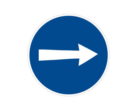 Traffic sign, commanded direction of travel, vector icon Vettoriali