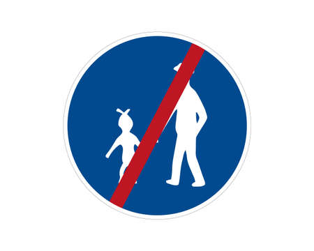 End command road sign. Pedestrian path, footpath, road sign, vector icon. Blue circle button. White silhouette of people.