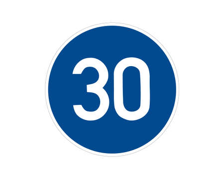 Command road sign. Minimum speed limit. Vector traffic sign.