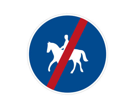Command road sign end of the trail for riders on the animal. Vector illustration. Suitable for use on web apps, mobile apps and print media.