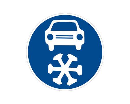 Command road sign winter equipment. Cold warning. Vector illustration.