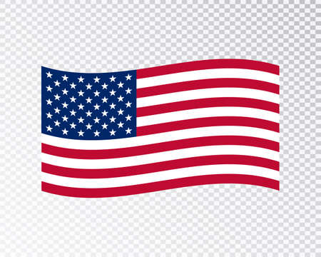USA flag waving on blank background. Vector illustration