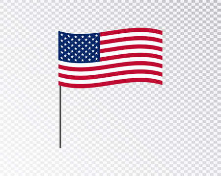 USA flag waving hanging down 3d flagpole vector on blank background