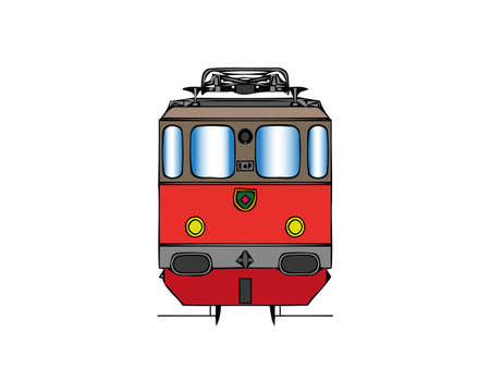Vector illustration of front wagon of an electric train or subway. Isolated on white background, front view