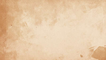 Old brown paper parchment background design with distressed vintage stains and ink spatter and white faded shabby center, elegant antique beige color Stok Fotoğraf