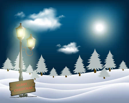 Winter Christmas motive, vintage lantern in snowy nature with big moon in background, vector illustration, eps 10 with transparency and gradient mesh