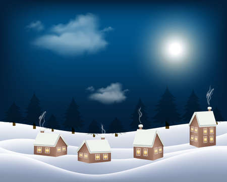 Vector image of small hut wooden house in christmas winter night