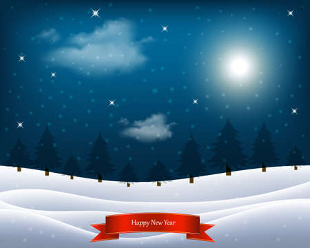 Vector illustration. Winter night landscape. Sky with clouds and the moon, the snow-covered field, forest, snow. Christmas background.