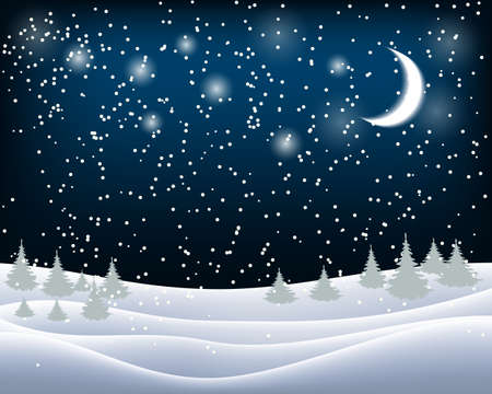 Beautiful wintry landscape with night sky, snow-covered nature and light moon Çizim