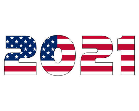 3D 2021 text with American flag inside the text. Vector illustration on white background. USA flag in text. American flag in letters. National emblem. Patriotic illustration. Çizim