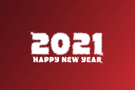 2021, Happy new 2021 year. White Number Design of greeting card. Vector illustration Çizim
