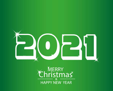 2021 happy new year background with white colored numbers. Vector illustration. Çizim