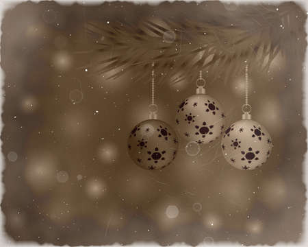 Christmas tree with balls and tinsel on vintage background