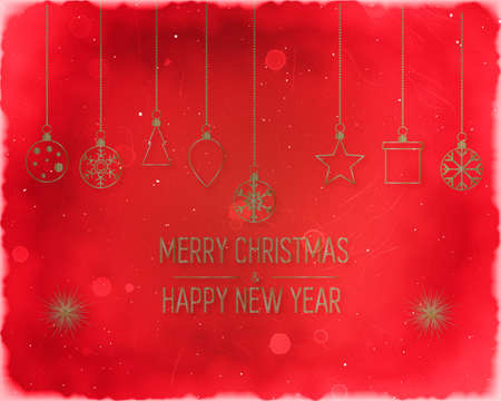 Golden text on dark red background. Merry Christmas and Happy New Year lettering for invitation and greeting card, prints and posters. Hand drawn inscription, calligraphic design.