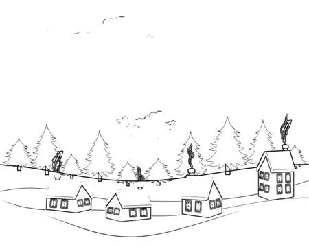 Illustration: Hand drawn landscape with road to house and pine forest. Sketch line design.