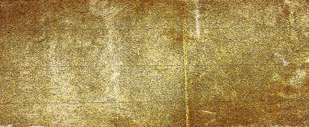 Old brown paper parchment background design with distressed vintage stains and ink spatter and white faded shabby center, elegant antique beige color Archivio Fotografico