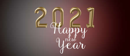 Happy New Year greetings and 2021 date number colored in gold, on a festive golden background