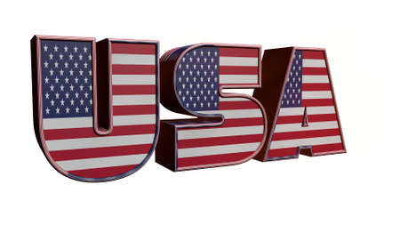 3D illustration USA text with American flag inside the text. 3d rendering on white background. USA flag in text. American flag in letters. National emblem. Patriotic illustration.