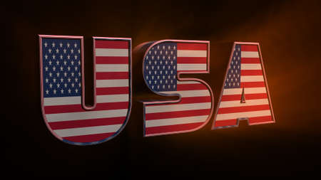 3D illustration USA text with American flag inside the text. 3d rendering on black background. USA flag in text. American flag in letters. National emblem. Patriotic illustration. Archivio Fotografico