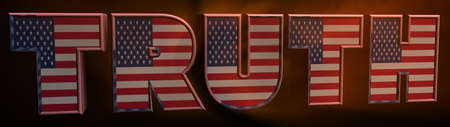 3D text message TRUE in the color of the American flag. Inscription for business concept. 3d illustration. Archivio Fotografico