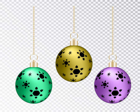 Glass transparent Christmas ball. Xmas glass bauble on transparent background. Holiday decoration template. Stocking Christmas decorations.Transparent vector object for design, mocap. Vector illustration Vettoriali
