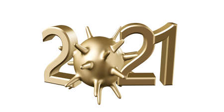 Happy new year 2021. 3D illustration of golden shiny numbers with covid-19 on a white horizontal background. Holiday greeting card design. Archivio Fotografico