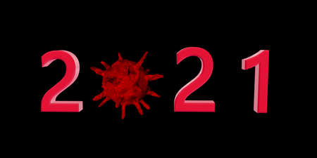 2021 Happy New Year logo text design. Anti Coronavirus concept 2021 new year symbols. Stop corona virus in 2021. 3d illustration with black and red labels isolated on white background. Archivio Fotografico