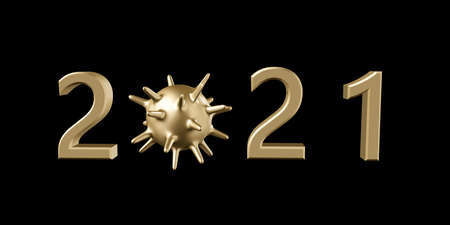 2021 Happy New Year logo text design. Anti Coronavirus concept 2021 new year symbols. Stop corona virus in 2021. 3d illustration with black and gold labels isolated on white background. Archivio Fotografico
