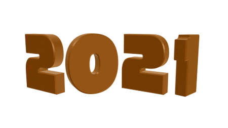 2021 number brown object on white background and copy space - Happy new year 2021