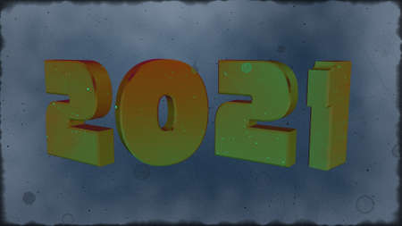 3d illustration red text with the number 2021 and embossed in black, with a background with a Bokeh effect, out of focus, in different colors with a space for text. Happy New Year 2021.