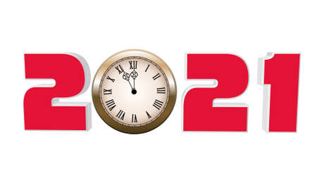 3d illustration red text with the number 2021 and clock. Happy New Year 2021. Archivio Fotografico
