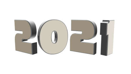 3d illustration gray text with the number 2021 and embossed in black, with a background with a Bokeh effect, out of focus, in different colors with a space for text. Happy New Year 2021.